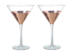 Kylie Cocktail Glasses, Clear / Rose Gold, Set of 2