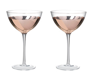 Kylie Champagne Saucer, Clear / Rose Gold, Set of 2