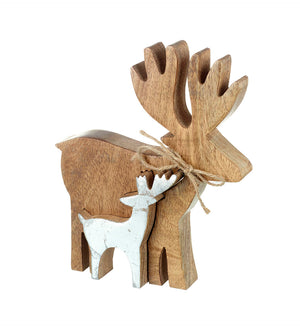 Double Deer Ornament, Wood / Silver