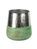Rochelle Metal Planter, Silver / Green