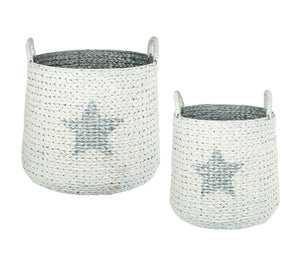 Ziggy Star Baskets, White / Silver, Set of 2
