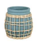 Amal Planter, Grey / Rattan