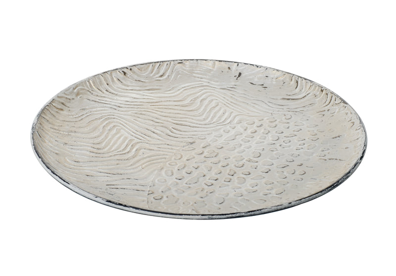 Safari Decorative Small Metal Tray, White / Gold