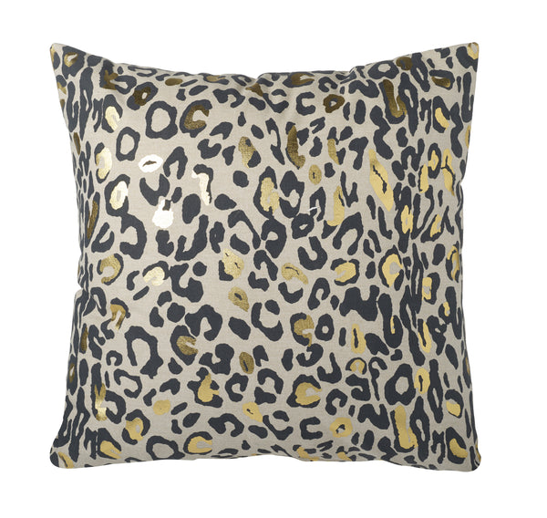 Sheba Leopard Print Square Cushion, Black / Gold