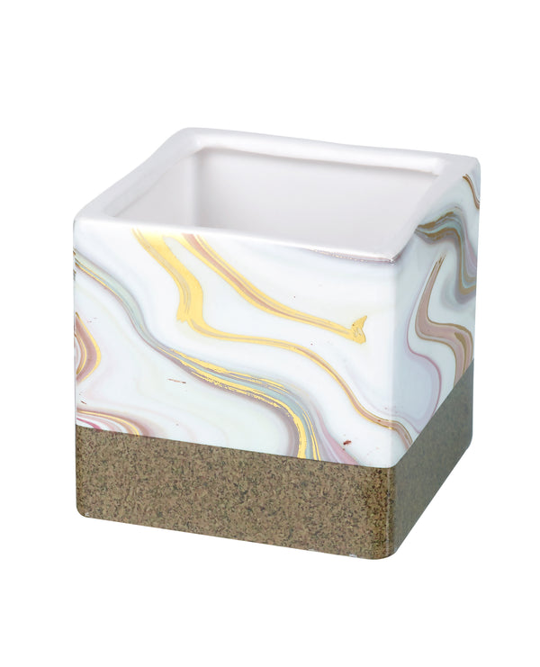 Lottie Small Marble Planter, White / Gold