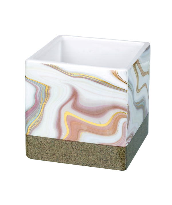 Lottie Large Marble Planter, White / Gold