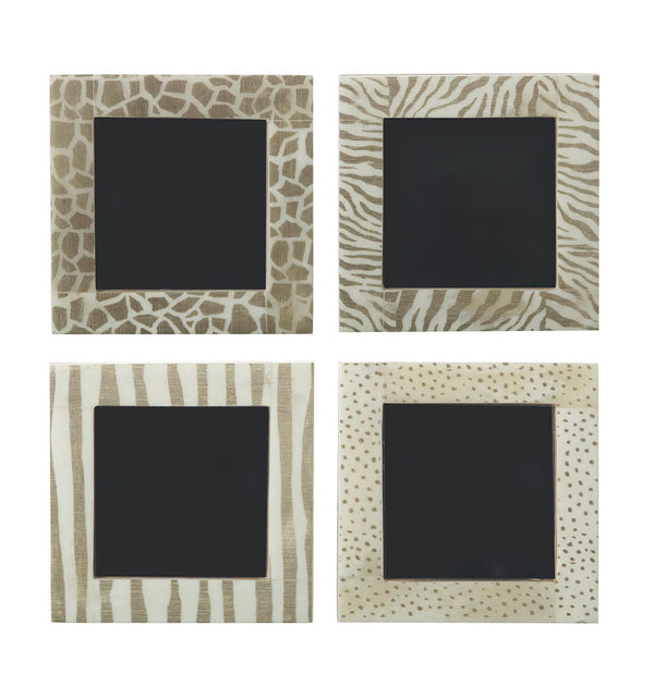 Animal Print Picture Frames, Set of 4