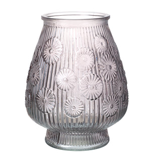 Dandelion Glass Hurricane Jar, Smoke