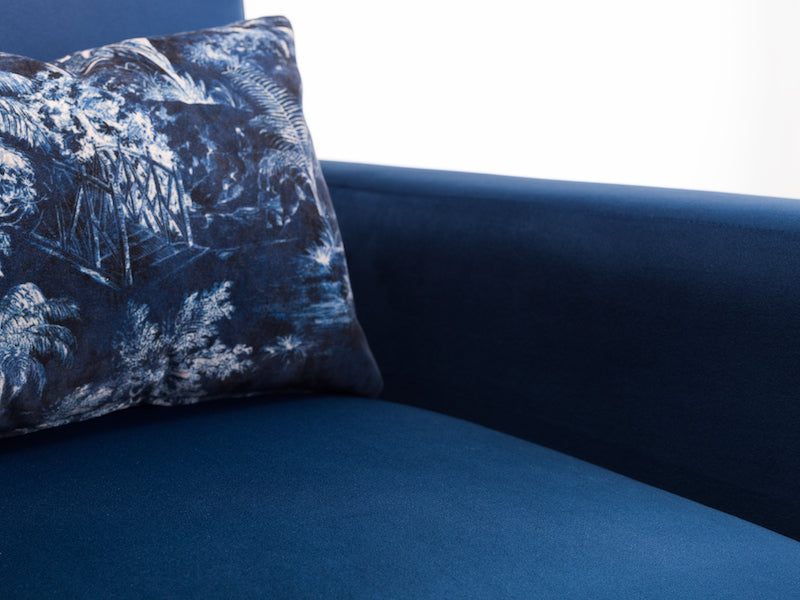 I Love Blue Velvet Arm Chair | Honora Exclusive