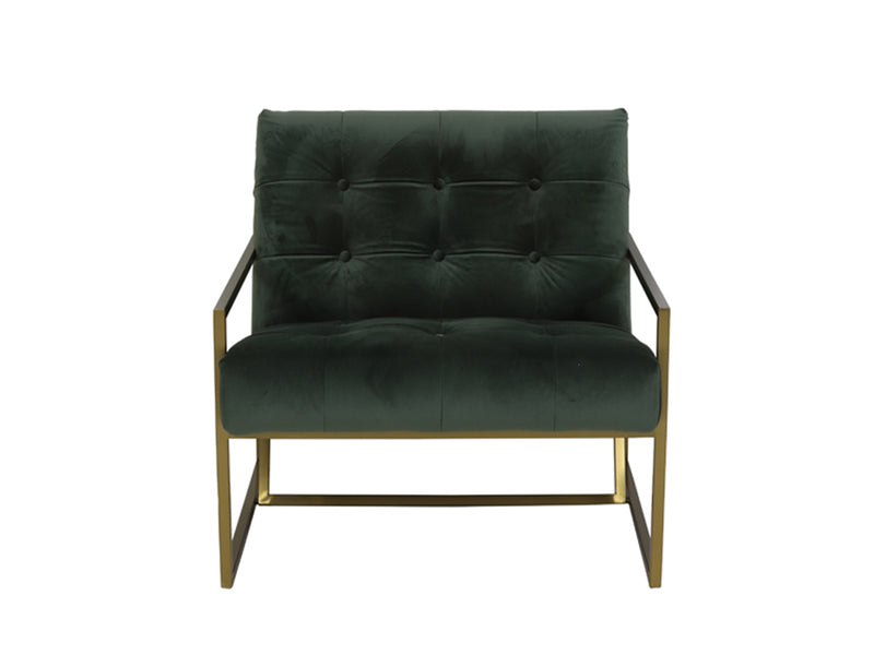 Hilda Modern Accent Chair with Gold Legs, Olive Green / Gold