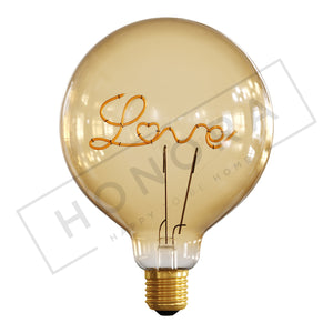'Love' Light Bulb, Upright Orientation, LED
