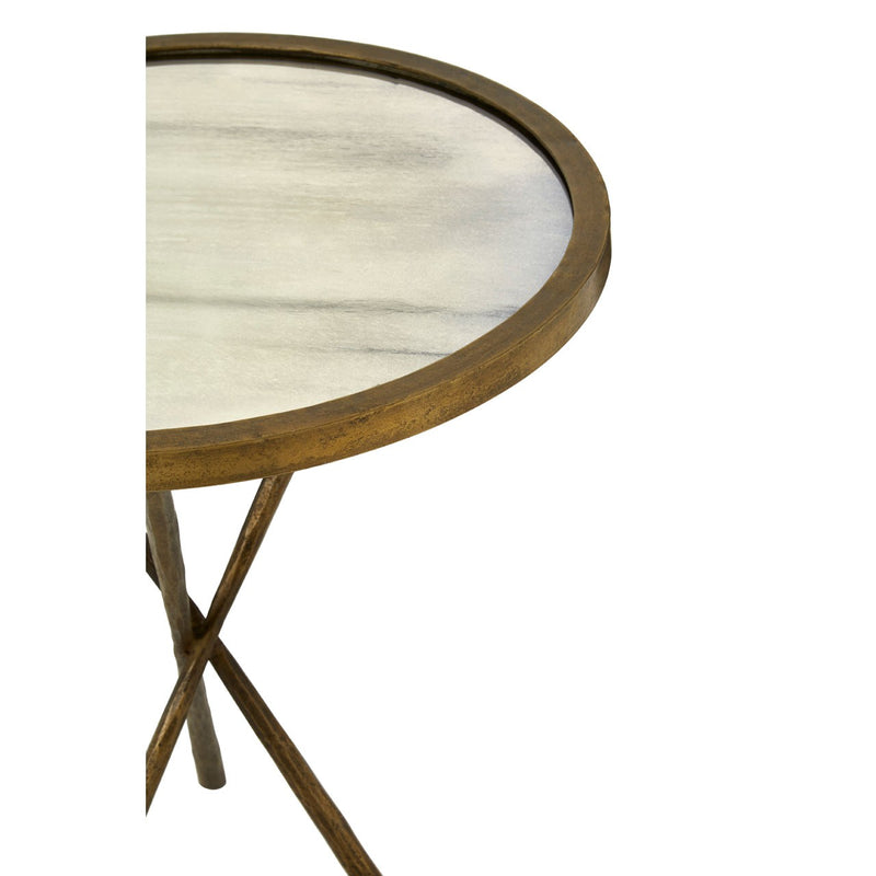 Missy Side Table, Glass / Antique Brass Finish