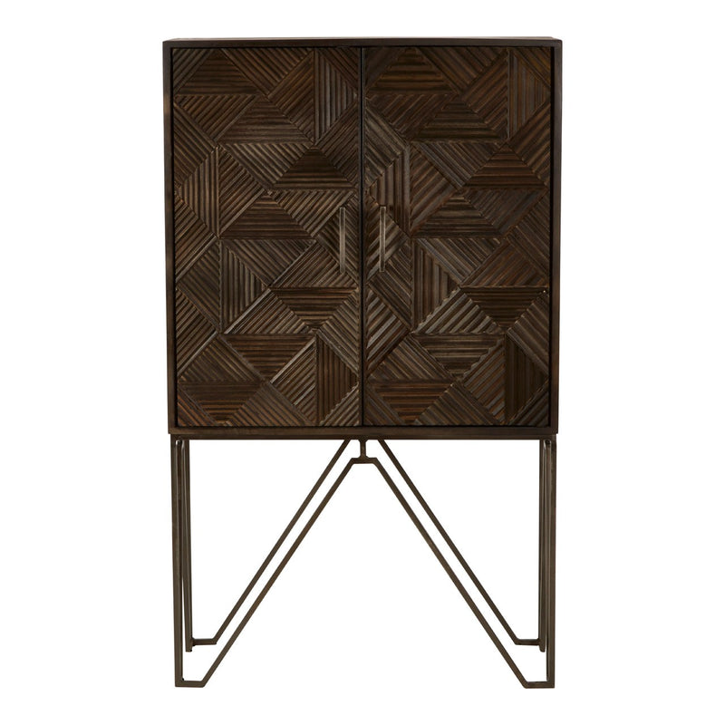 Nadia Cabinet, Mango Wood / Metallic Brass