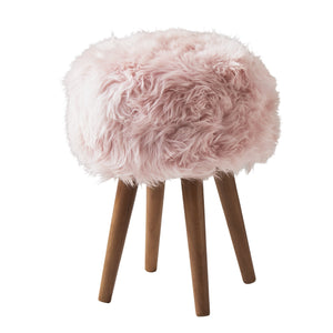 Delilah Sheepskin Stool, Blush Pink