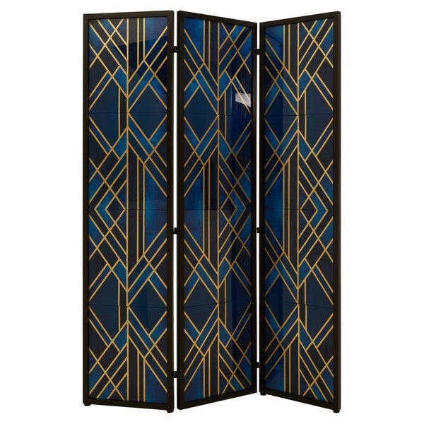 Frances Art Deco Room Divider, Gold / Blue