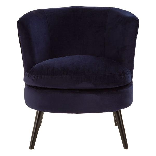 Sasha Plush Velvet Cocktail Chair, Midnight Blue