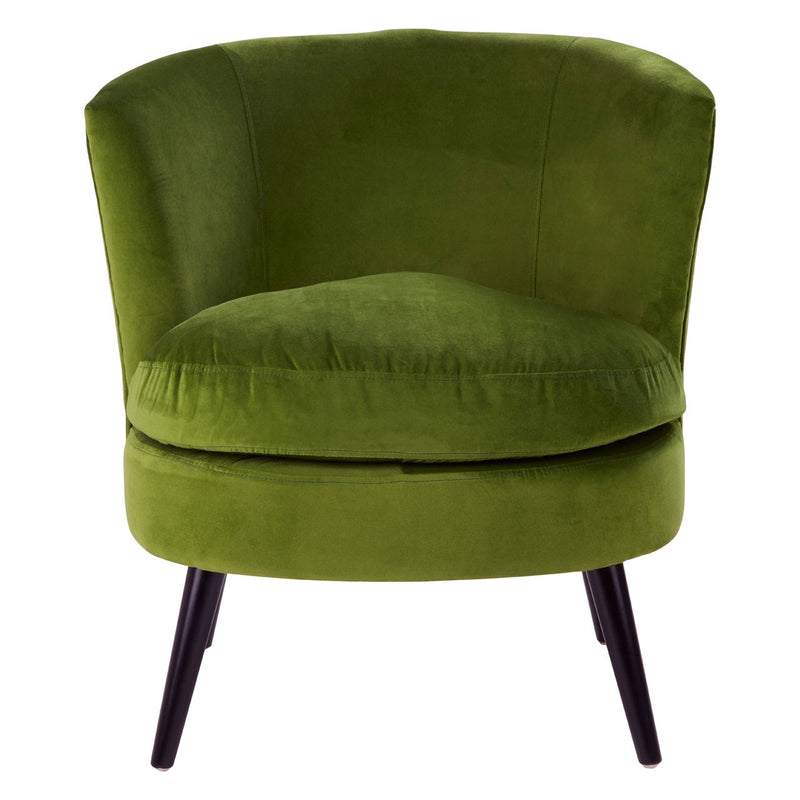 Sasha Plush Velvet Cocktail Chair, Olive Green