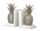Pineapple Bookends, White / Silver