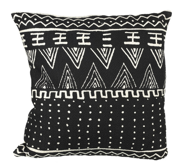 Aztec Cushion, Black / White Cotton