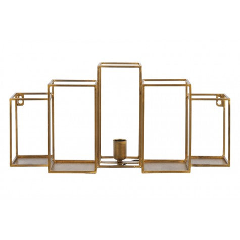 Theo Wall Lamp with Shelves, Antique Gold
