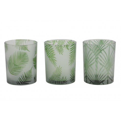 Fern Tealight Candle Holders, Green