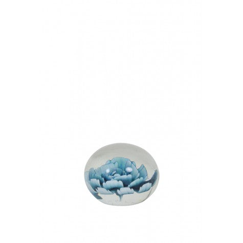 Flora Glass Ornament, Blue