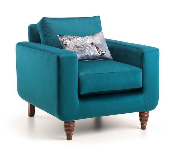 Dreams are Teal Velvet Arm Chair | Honora Exclusive