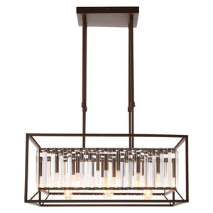 Ula 6 Bulb Chandelier, Iron / Glass