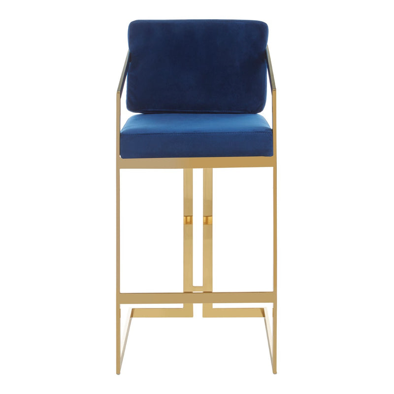 Vanessa Bar Chair, Blue / Gold Finish