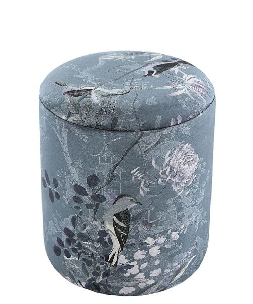 Boho Velvet Drum Stool, Garden Blue