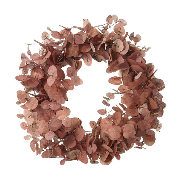 Artificial Foliage Wreath, Pink