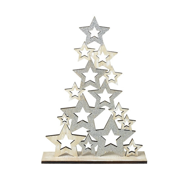 Star Tree Decoration, Wooden / Silver
