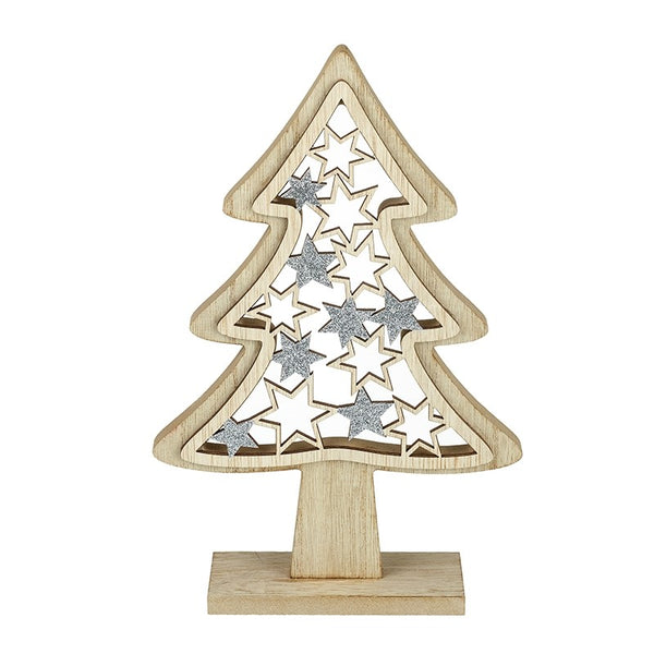 Stars Tree Decoration, Wooden / Silver