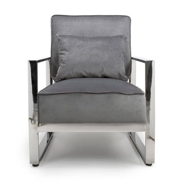 Dawn Accent Chair in Grey Velvet with Chrome Legs