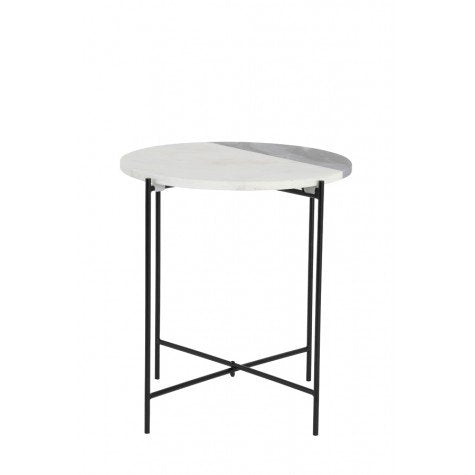 Audrey Side Table, Grey/White Marble