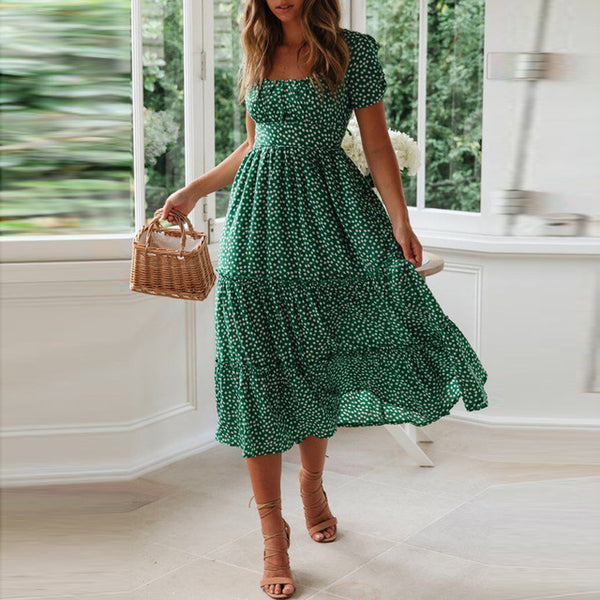 FREE OSTRICH Dress Women Pleated Puff Sleeve Bohemian Graceful for Summer