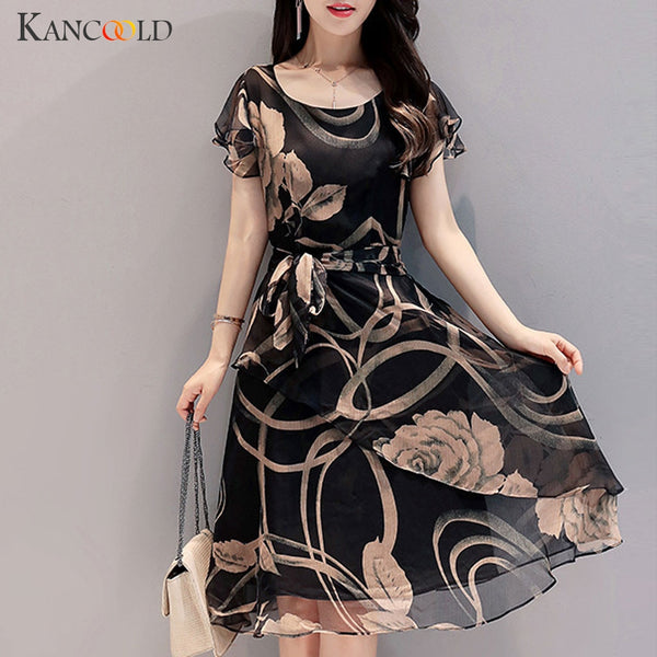 KANCOOLD dress Fashion Women O-Neck Long Sleeve Short Dress Ladies Floral Print A-line Brief casual new dress women 2019DEC17