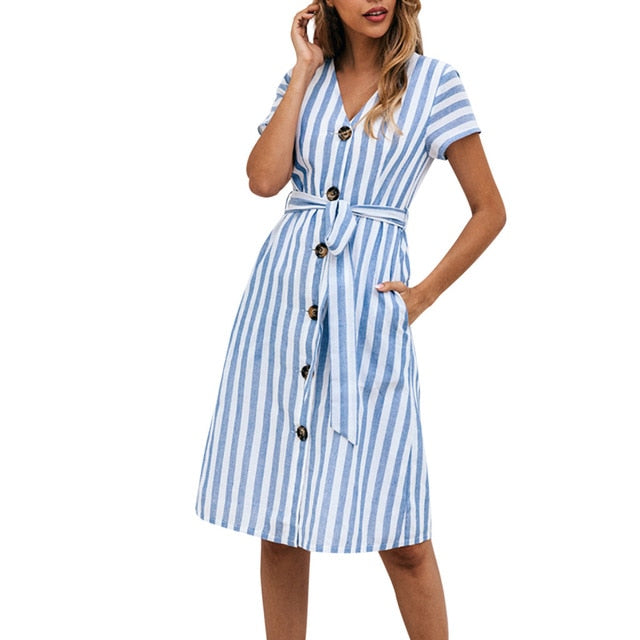 FREE OSTRICH Women Dress Geometric Button Short Sleeve V Neck Party Belt Moving Noble And Elegant Summer New Arrival Dress