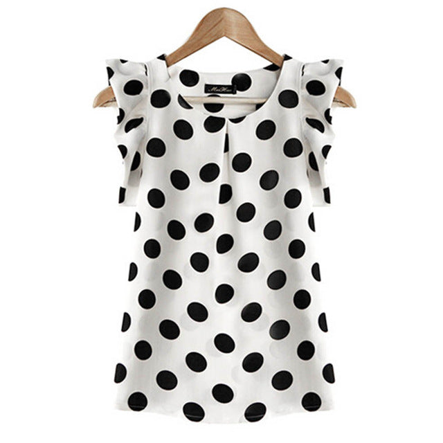 Summer Women Elegant Chiffon White Blouse Ladies Puffed Short Sleeve Black Dot Print Top Blusas