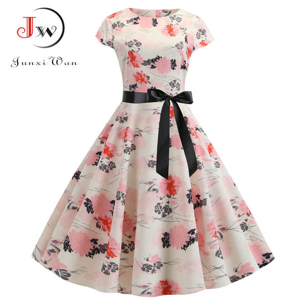 2019 Women Summer Dress Vintage Floral Print Rockabilly Dress Robe Femme Sundress Vestidos Plus Size Polka Dot Party Dress