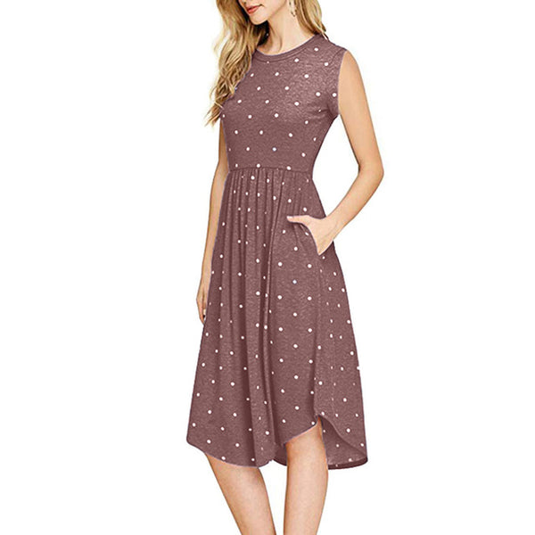 FREE OSTRICH Women Dress Polka Dot A-Line Pleated With Pocket