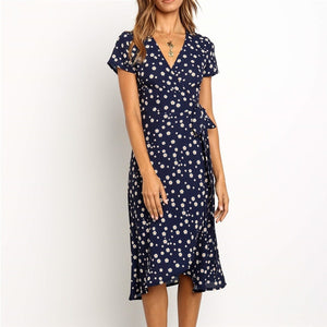 Aachoae Summer Long Dress 2020 Print Boho Wrap Beach Dress