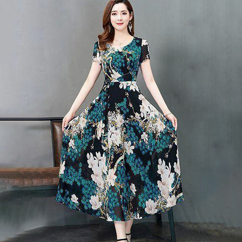 Fashion Boho Dress Summer Women Long Dresses O-Neck Short Sleeve Party Long Dress Printed Slim A-Line Dresses 2020 Sukienki
