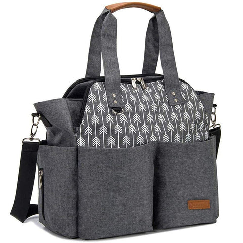 Lekebaby Arrow Print Tote & Messenger Diaper Bag
