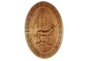 3D Sculpted 4 Player Cribbage Board - a Beautiful oval cherry wood board with 3D sculpted deer