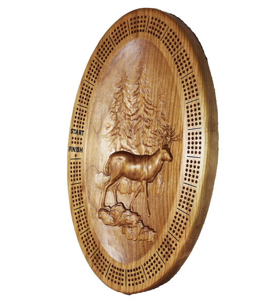 3D Sculpted 4 Player Cribbage Board - a Beautiful oval cherry wood board with 3D sculpted deer!