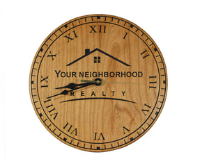 Company Logo Wall Clock - Beautiful cherry wood 10.5 inch customizable clock