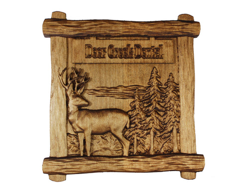 Custom 3d Sculpted Plaque - Beautiful maple plaque with 3D sculpted deer