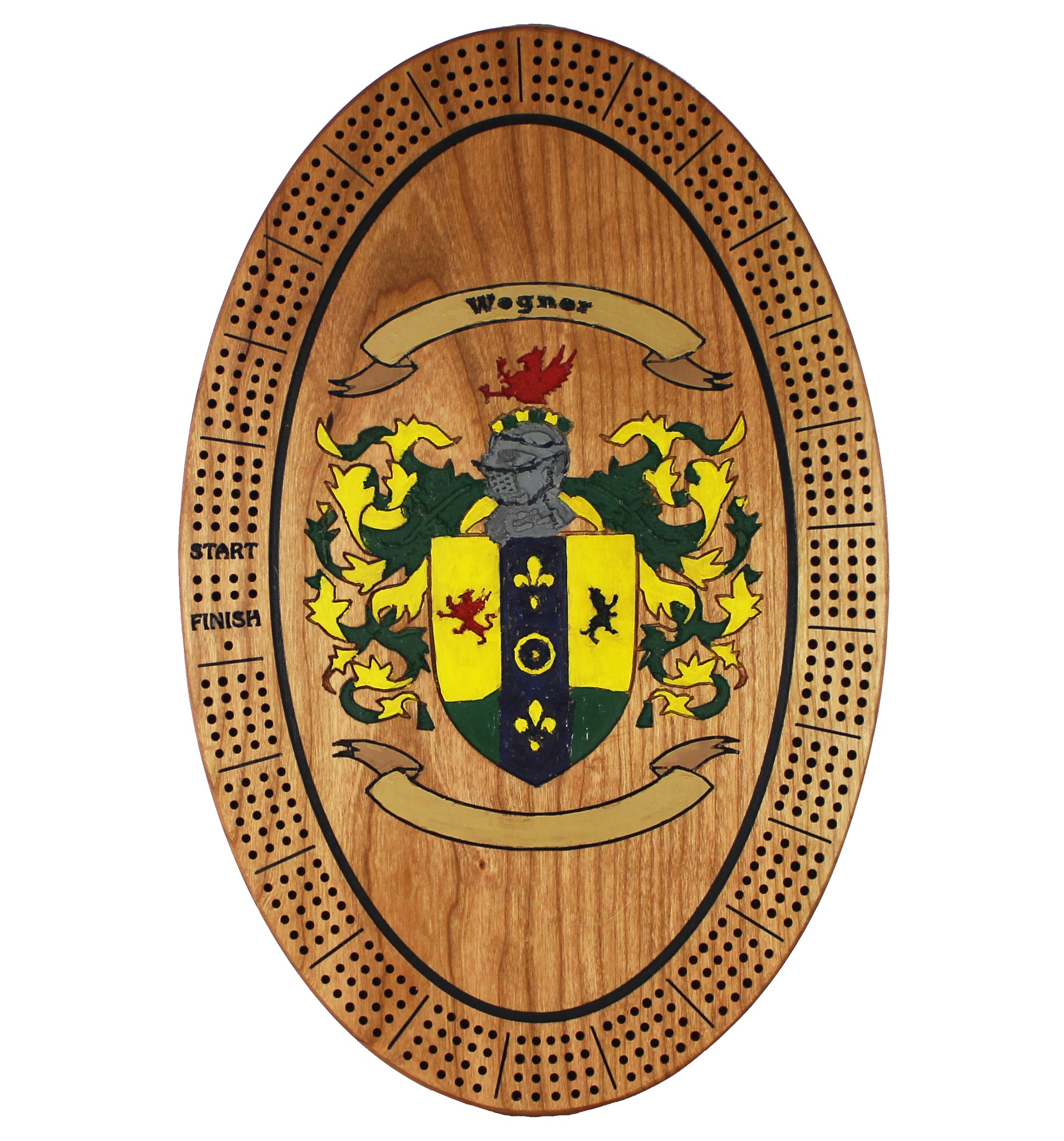 Family Crest (Coat of Arms) Cribbage Board