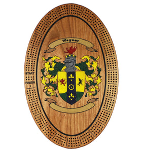 Family Crest (Coat of Arms) Cribbage Board - Beautiful oval cherry wood board with your custom coat of arms